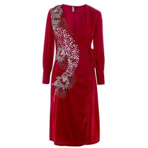 Topshop Dresses - TOPSHOP Velvet hot pink embellished dress